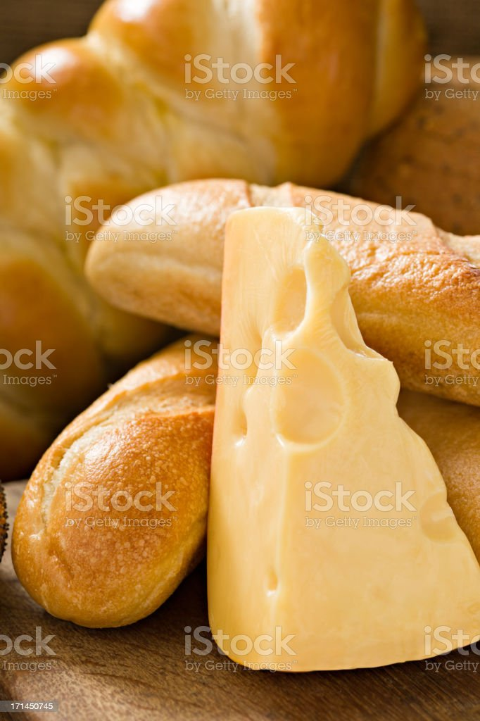 Assorted Bread And Cheese stock photo