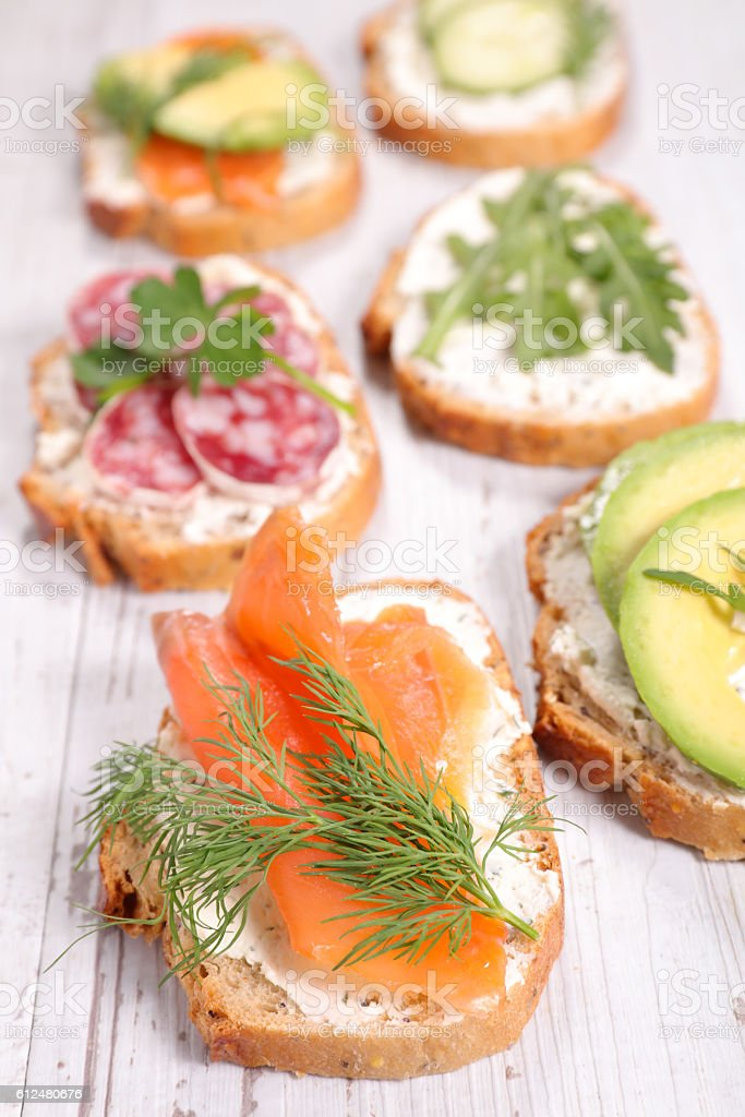 assorted bread with vegetable stock photo