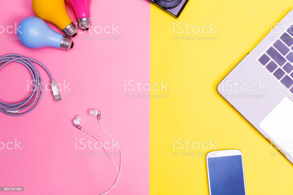 Assorted bright objects stock photo