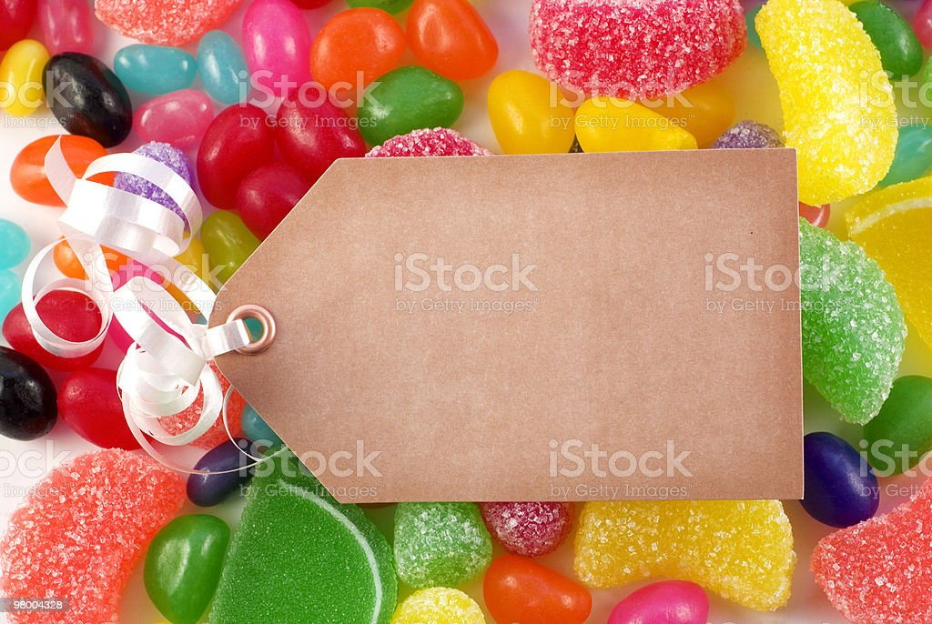 Assorted Candies with Tag, Copy Space royalty-free stock photo