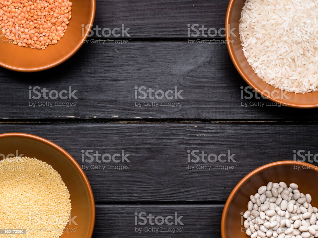 assorted cereal on the kitchen table stock photo
