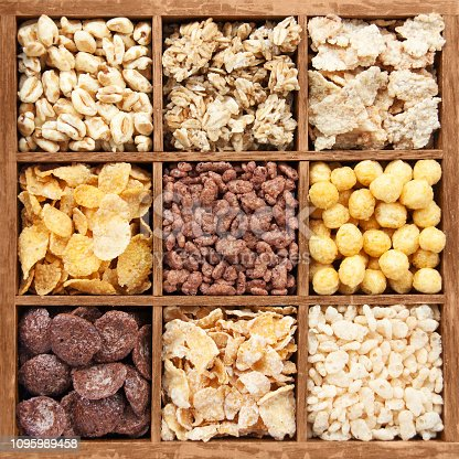 istock Assorted cereals in wooden box 1095989458