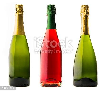 Champagne bottles isolated on white