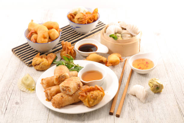 assorted chinese food stock photo