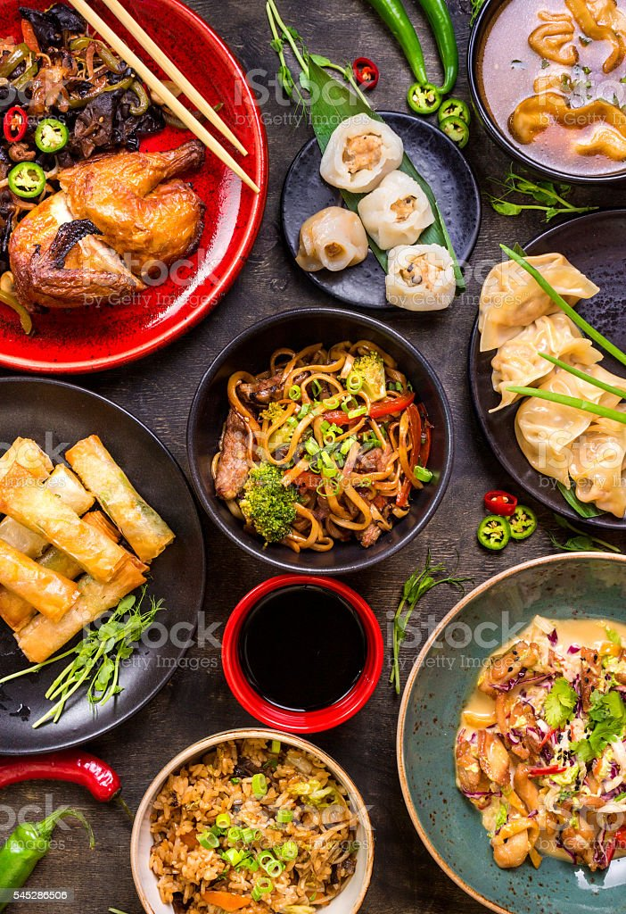 Assorted Chinese food set stock photo