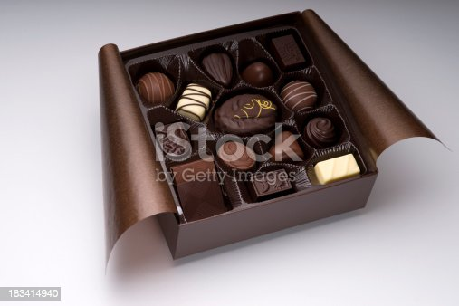 Assorted chocolate box on white. XXXL.Click to see more food shots: