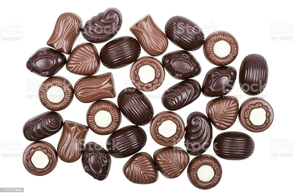 Assorted chocolate candies royalty-free stock photo