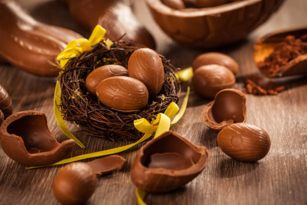 Assorted chocolate eggs for Easter stock photo