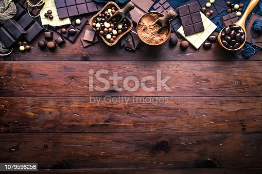 Assorted chocolate in old-fashioned style making a frame with copy space