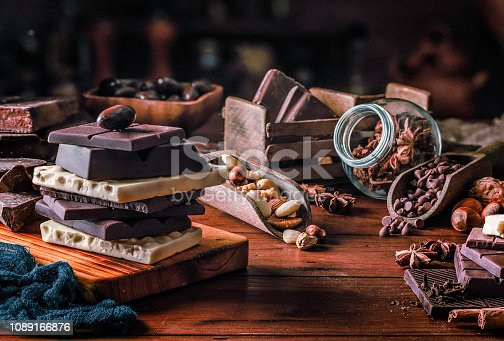 Assorted chocolate, nuts and dried fruit in old fashioned style