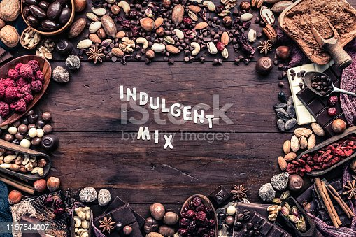 Assorted chocolate, nuts and dried fruit in old fashioned style with sign in copy space frame