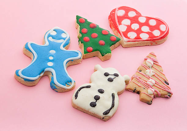 Assorted Christmas Cookies On Pink Stock Photo Download Image Now