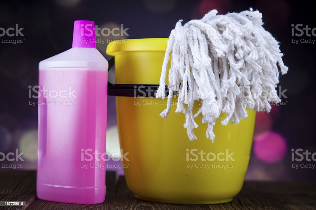 Assorted cleaning products royalty-free stock photo