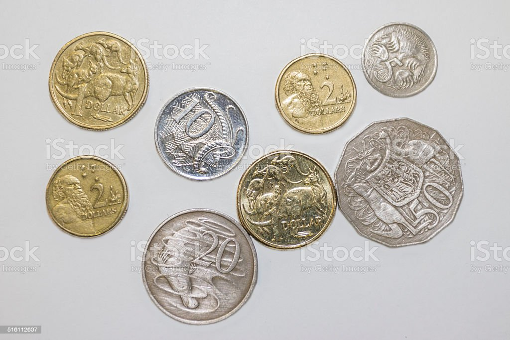 Assorted coins stock photo