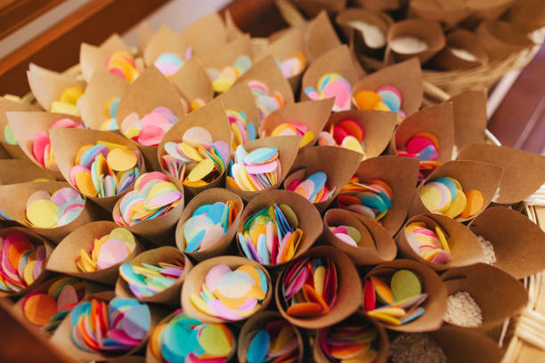 Assorted colored confetti cones for a home party