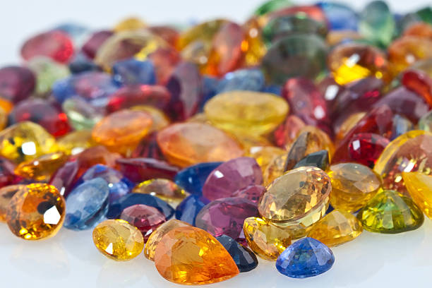 assorted colored gem stones - sapphire gemstone stock photos and pictures