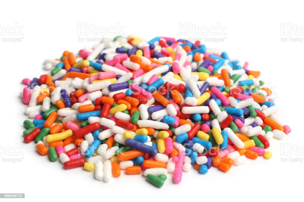 Assorted colored sprinkles stock photo