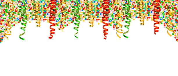 diverse konfetti mit glänzenden, bunten streamer. party dekoration - faschingssprüche stock-fotos und bilder