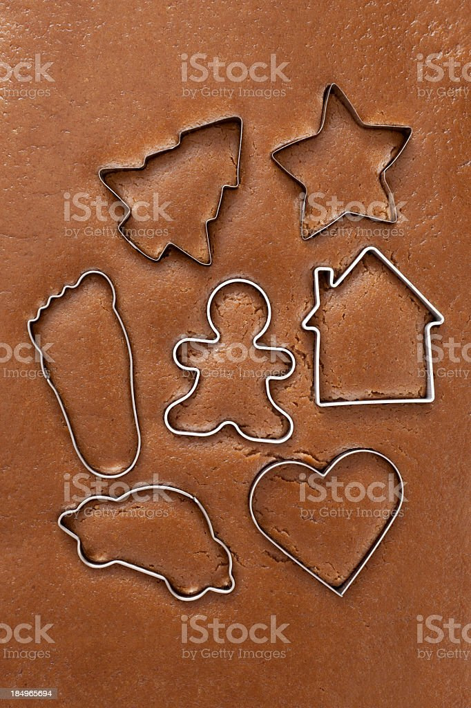 Assorted cookie cutters stock photo