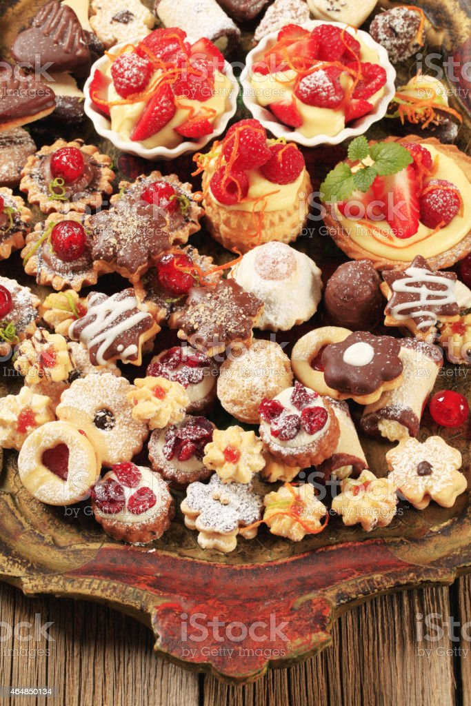Assorted cookies and desserts stock photo