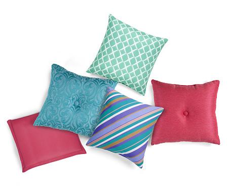 Assorted decorative patio cushions
