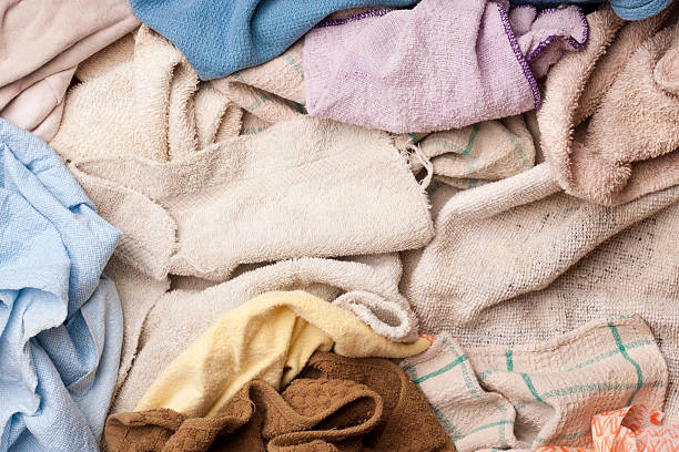 Assorted dish rags stock photo