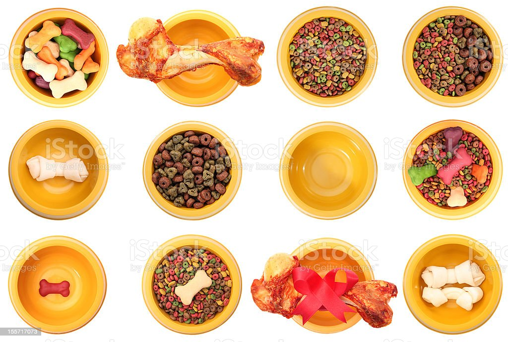 Assorted dog bowls royalty-free stock photo