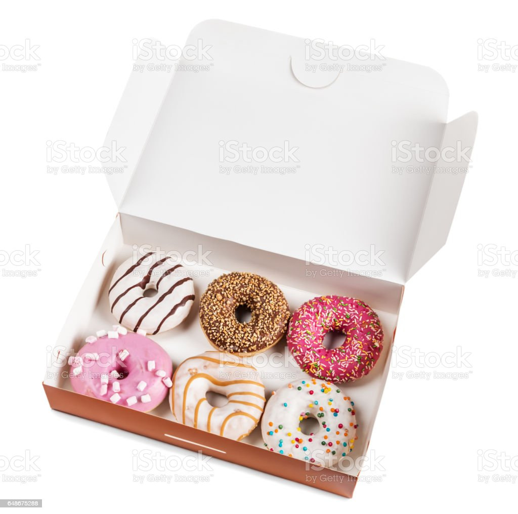 assorted donuts with different fillings in the box stock photo