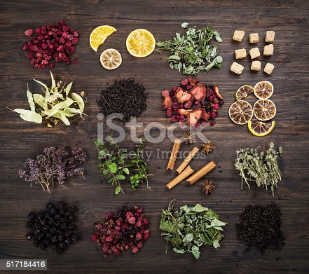 istock Assorted dried herbs tea. 517184416