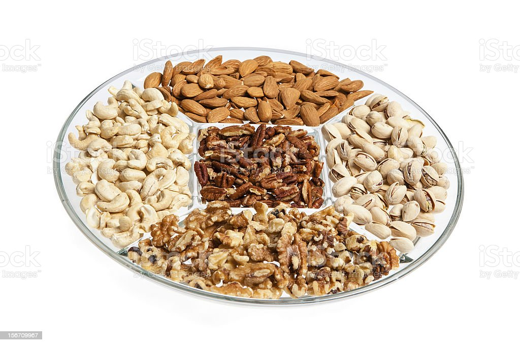 Assorted Dried Nut Tray royalty-free stock photo