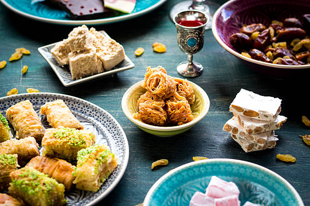 assorted eastern desserts - eid stock pictures, royalty-free photos & images