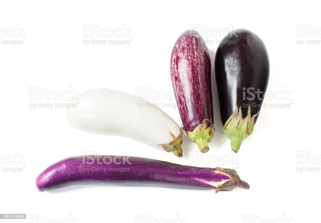 Assorted eggplants stock photo