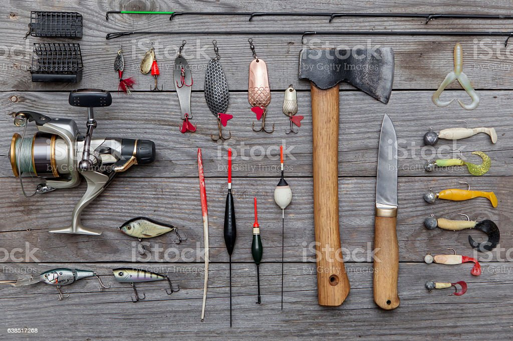 assorted fishing tackle stock photo