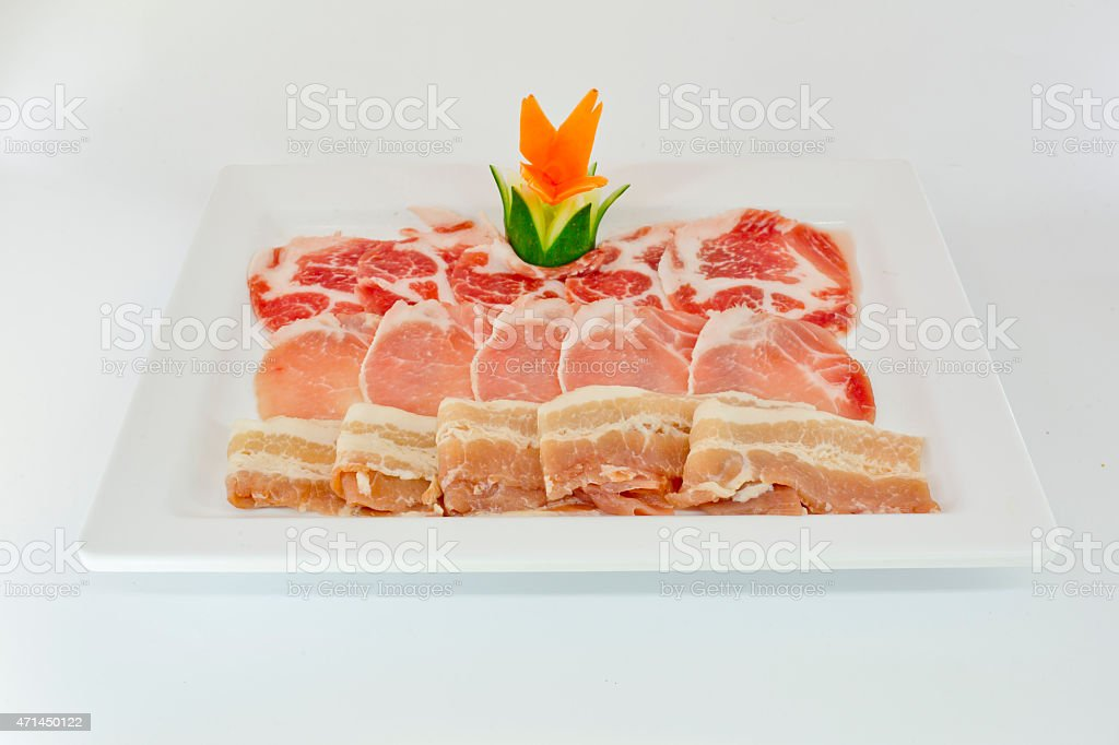 Assorted Fresh Cured Meats on white dish isolate stock photo