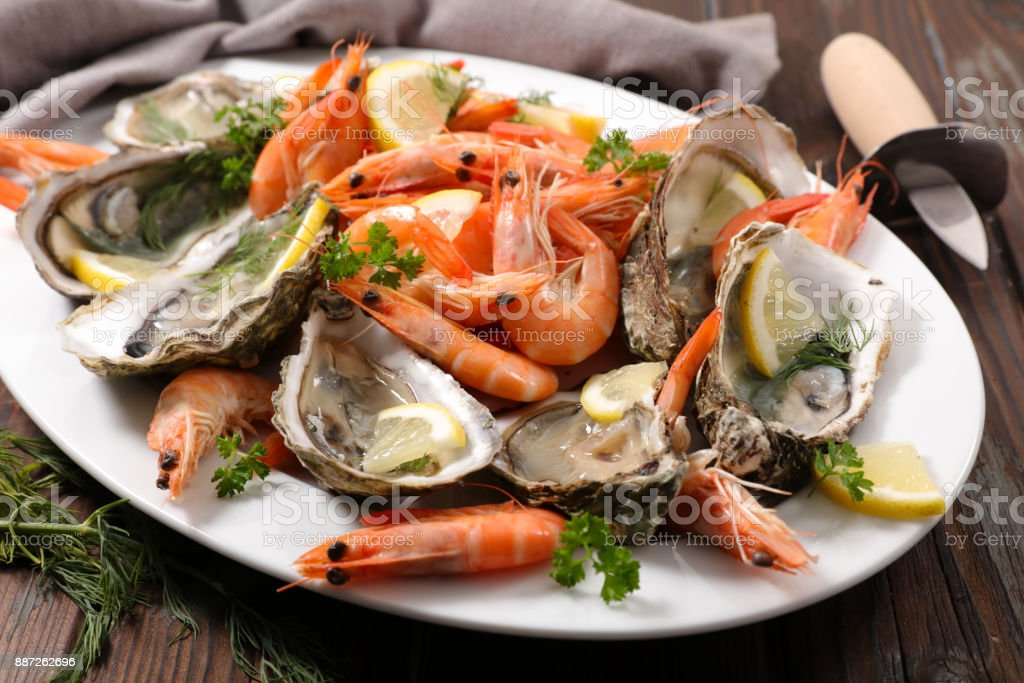 assorted fresh seafood platter stock photo