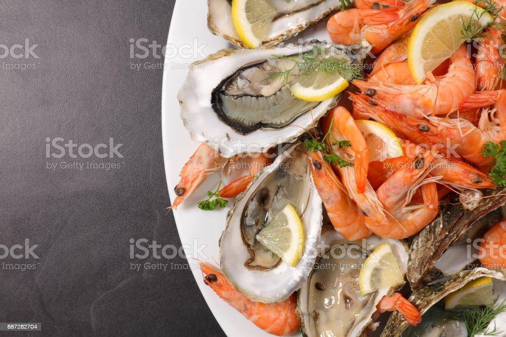 Surtido de mariscos frescos - foto de stock