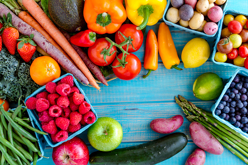 istock Assorted Fruits and Vegetables Background 512628566