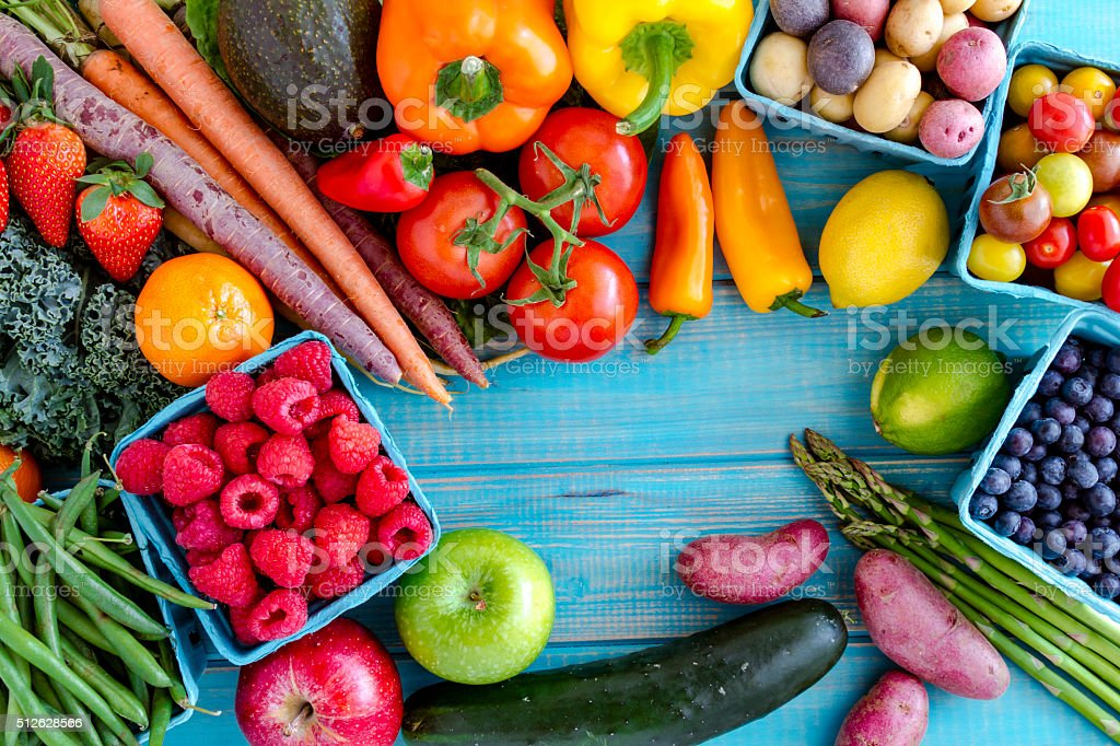 Assorted Fruits and Vegetables Background stock photo