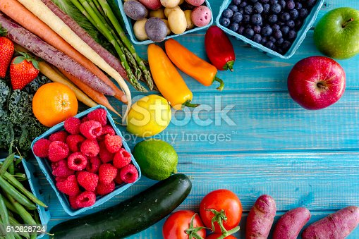 istock Assorted Fruits and Vegetables Background 512628724