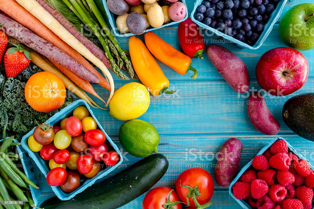 Assorted Fruits and Vegetables Background royalty-free stock photo