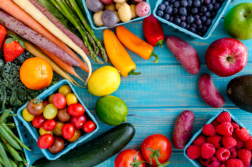 istock Assorted Fruits and Vegetables Background 512628780