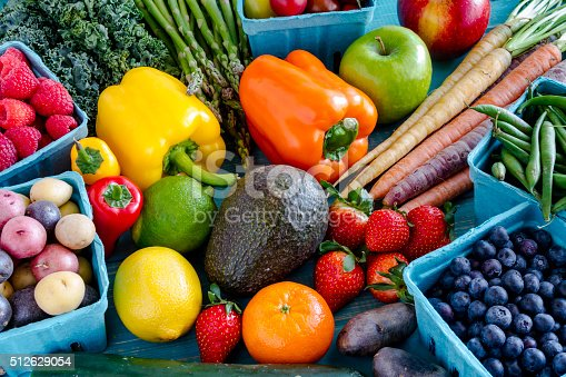 istock Assorted Fruits and Vegetables Background 512629054