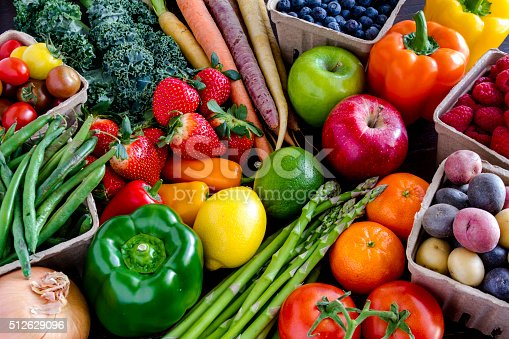 istock Assorted Fruits and Vegetables Background 512629096