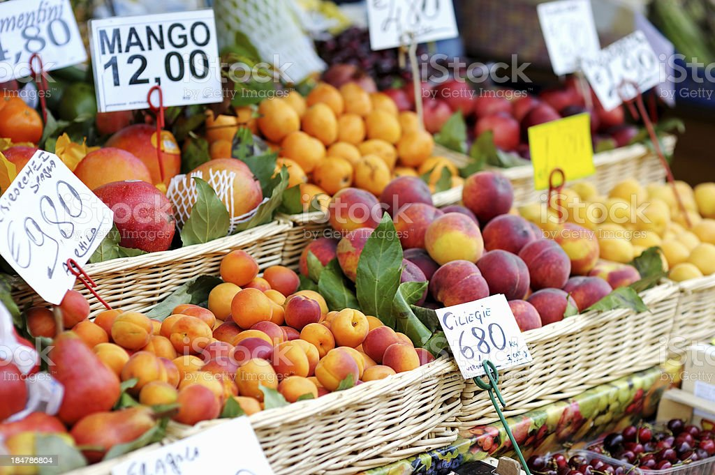 Assorted fruits on a fruit market stock photo