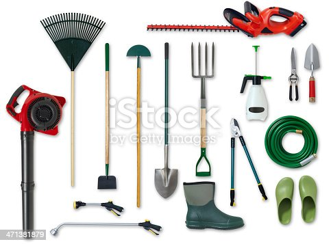 Different types of gardening tools and boots are shown against a white background.  The collection includes a spade, a leaf blower, a hosepipe, a gumboot and a lawn rake.