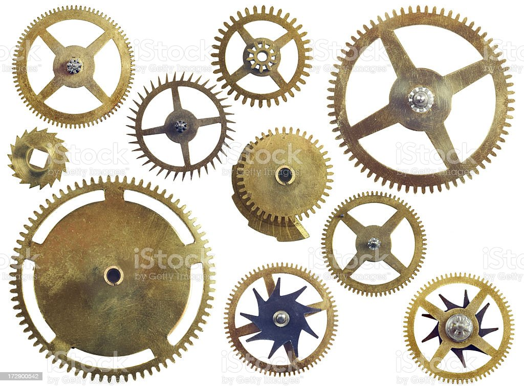 Assorted gear wheels stock photo