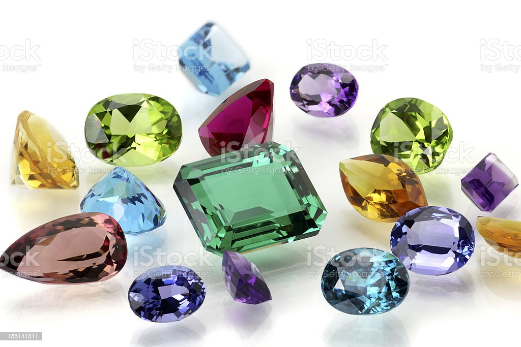 Assorted Gemstones stock photo