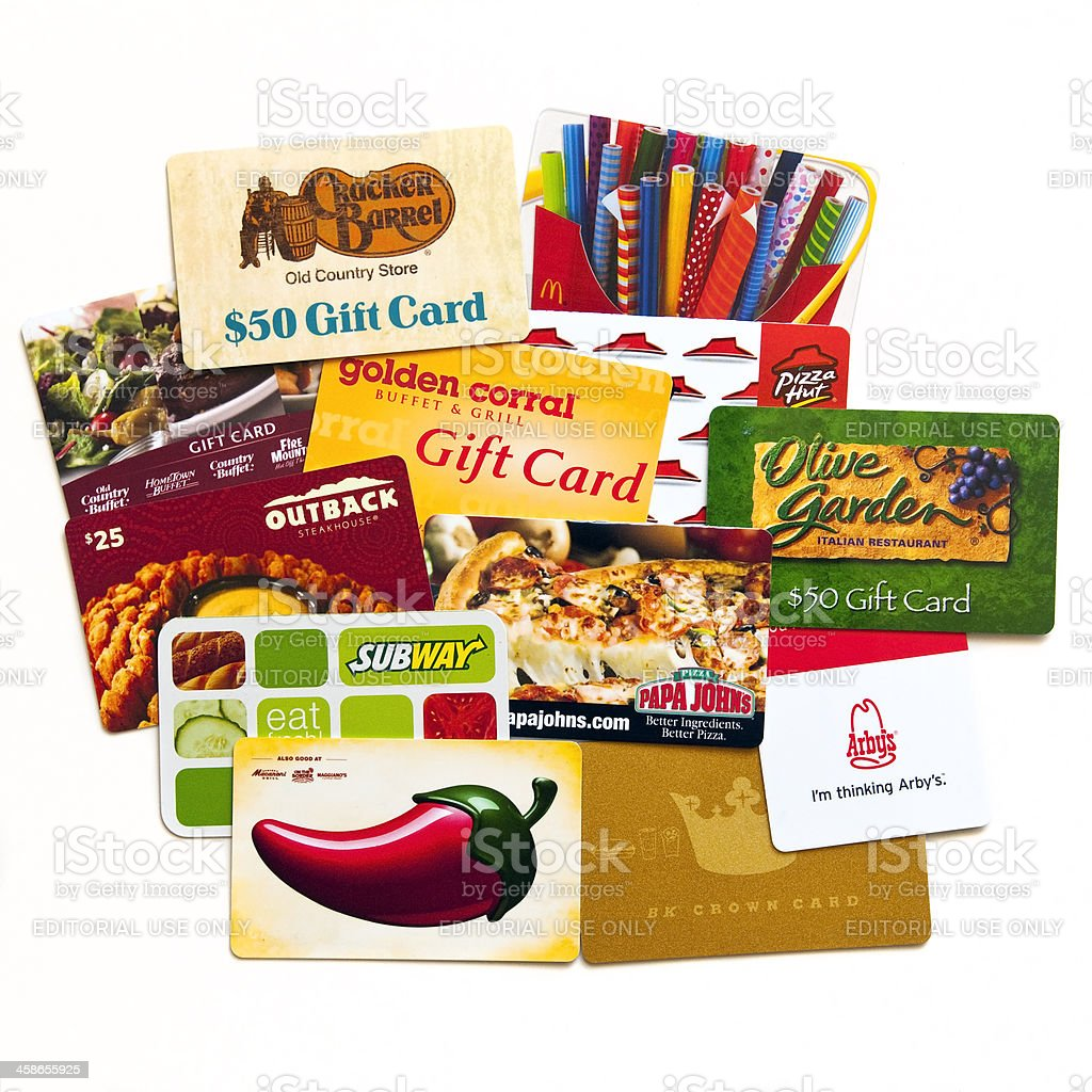Assorted gift cards stock photo