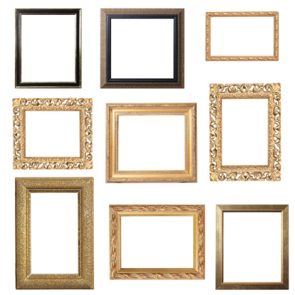 Exquisite Gold Frame Selection for placement of images. Pure white background for easy editing. Can be used as portrait or landscape frames.
