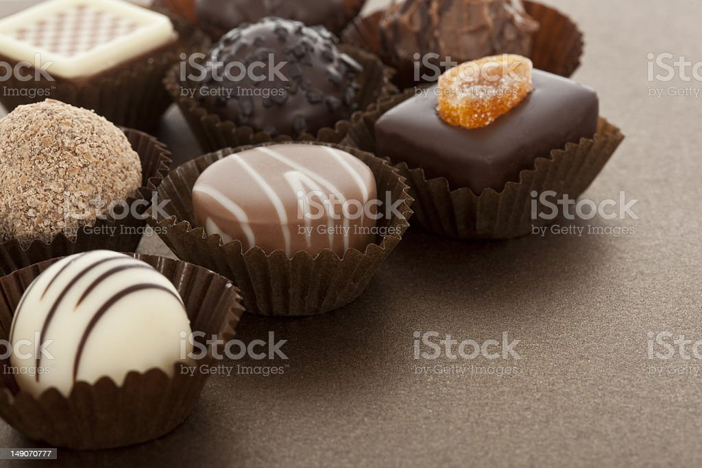 Assorted gourmet chocolate bonbons royalty-free stock photo